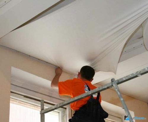 Установка натяжных потолков тканевых. Натяжные потолки из ткани