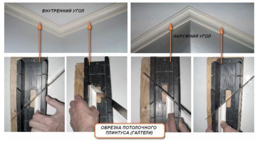 Плинтуса потолочные, как правильно резать угол. Монтаж багет в углу с использованием стусла