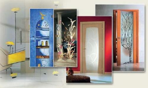 Декор межкомнатных дверей со стеклами своими руками фото