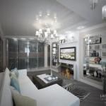 Интерьер гостиной и прихожей в трехкомнатной квартире П - 44 т, Москва.