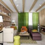 Дизайн пpоект двухкомнатной кваpтиры площадью 62, 8 кв.