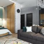 Дизайн квартиры - студии со спальней в нише.