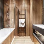 Оригинальный цвет и исполнение ванной комнаты с душевой.