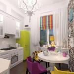 Яркий дизайн маленькой кухни.