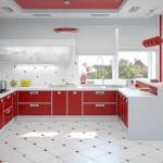 Красный в дизайне кухни.