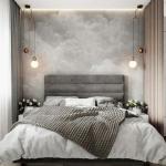 Проект комнаты с зонированием на спальную и зону отдыха.