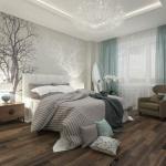 Необычная люстра роспись на стене = стильная спальня.