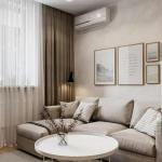 Зонирование комнаты на гостиную и спальную зоны.